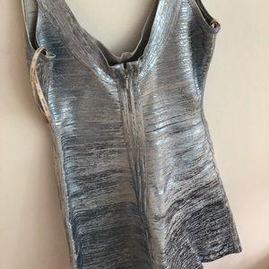 Herve Leger silver bandage dress